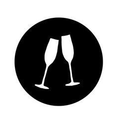 two glasses with champagne on vector image