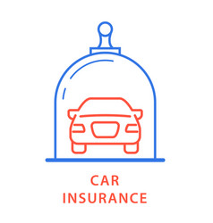 Vehicle insurance icon - car under glass dome vector