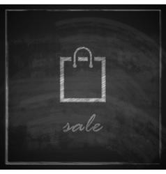 vintage with a shopping bag on blackboard vector image