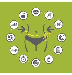 Weight loss with health and fitness icons vector image