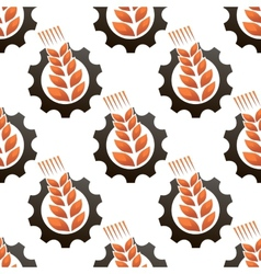 Wheat or barley inside a gear seamless pattern vector
