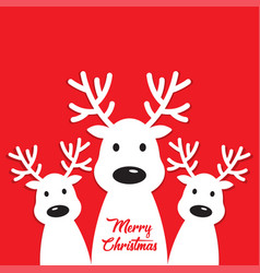 White reindeer on a red background vector