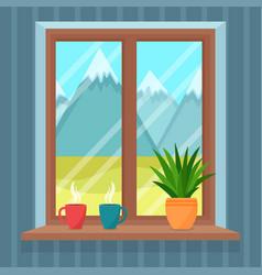 Window overlooking beautiful landscape vector