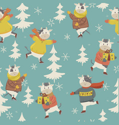 winter cow seamless pattern cows are skating vector image