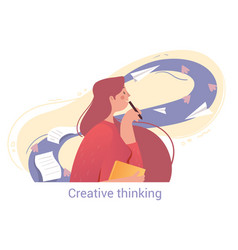 Young female character is using creative thinking vector