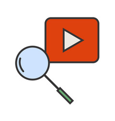 Youtube search line filled icon vector