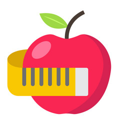 apple with measuring tape flat icon fitness vector image vector image