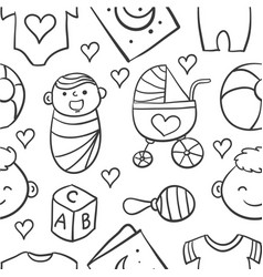 Collection stock of baby doodles vector