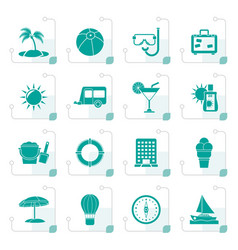 stylized vacation and holiday icons vector image vector image