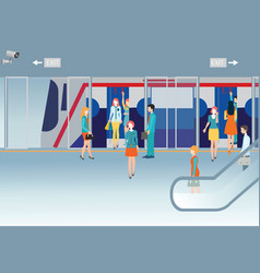subway train station platform with people vector image vector image