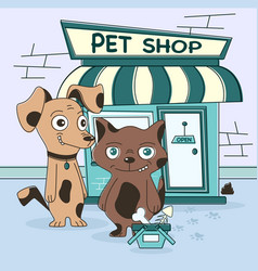 cat and dog shopping vector image