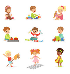 cute children playing with different toys and vector image vector image