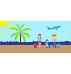 family on vacation with suitcases vector image