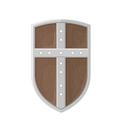 flat style colored medieval shield with cross icon vector image vector image