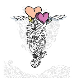 heart of love doodle vector image vector image
