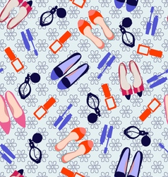 pattern with make up and shoes vector image