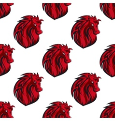 Seamless pattern of red horses heads vector