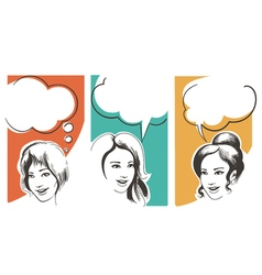 Set of Girls with Speech Bubbles vector image vector image