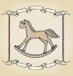 Vintage horse label vector