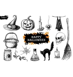 hand drawn Halloween set Vintage vector image