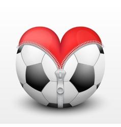 Red heart inside soccer ball vector image vector image