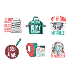 Saucepan and grater colander and frying pan vector