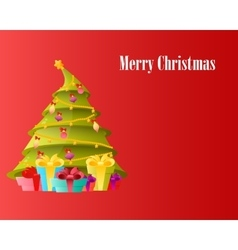 Card Christmas tree with gifts vector image