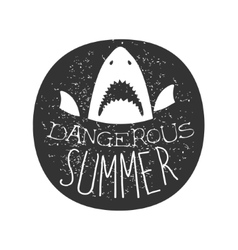 Great White Shark With Open Mouth Summer Surf Club vector image