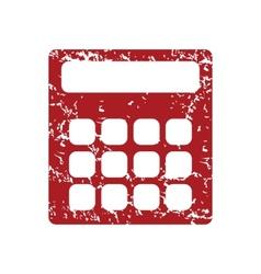 Red grunge calculator logo vector image vector image