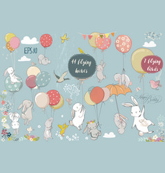 set with flying hares vector image