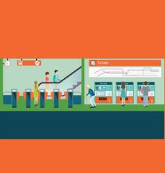 subway train station platform with people buying vector image