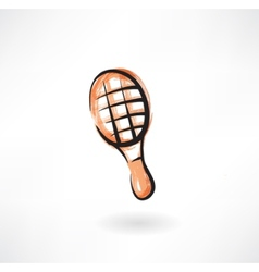 tennis racket grunge icon vector image vector image