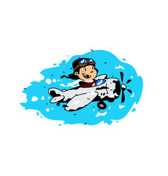 A cartoon boy flying in plane among clouds vector