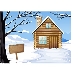 A wooden house near the empty signboard vector image