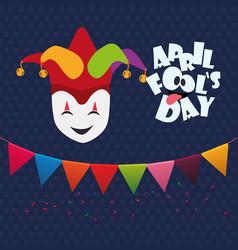 April fools day mask joker hat garland vector