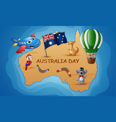 australia map in the background of the ocean with vector image