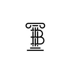 B letter law pillar logo icon vector