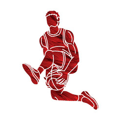 Basketball male player action vector