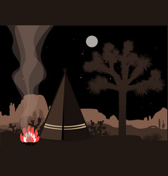beautiful amd mystic with indian tepee fire and vector image