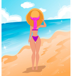 beautiful woman in bikini vector image