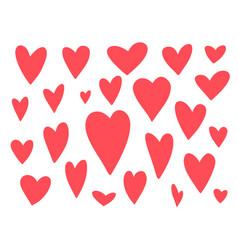 big set cute doodle red hearts vector image