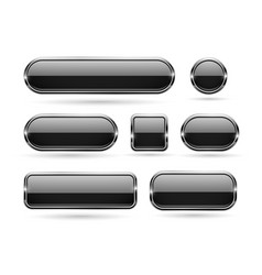 black glass buttons with chrome frame 3d icons vector image
