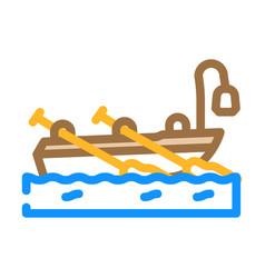 Boat pirate color icon vector