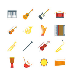 Cartoon musical insrtuments color icons set vector