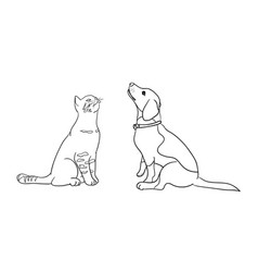 Cat and dog line art 08 vector