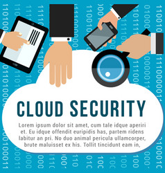 Cloud security poster for data storage design vector