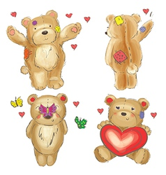 Collection of valentine teddy bears vector image