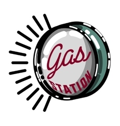 Color vintage gas station emblem vector