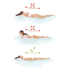 Correct and incorrect sleeping body posture vector