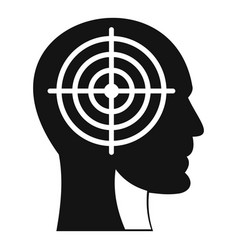 Crosshair in human head icon simple style vector